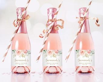 Mini Bridal Shower Champagne Bottle Labels, Printable and Editable Mini Champagne Favor Label Template, Favors, Blus Pink Floral, VWC95