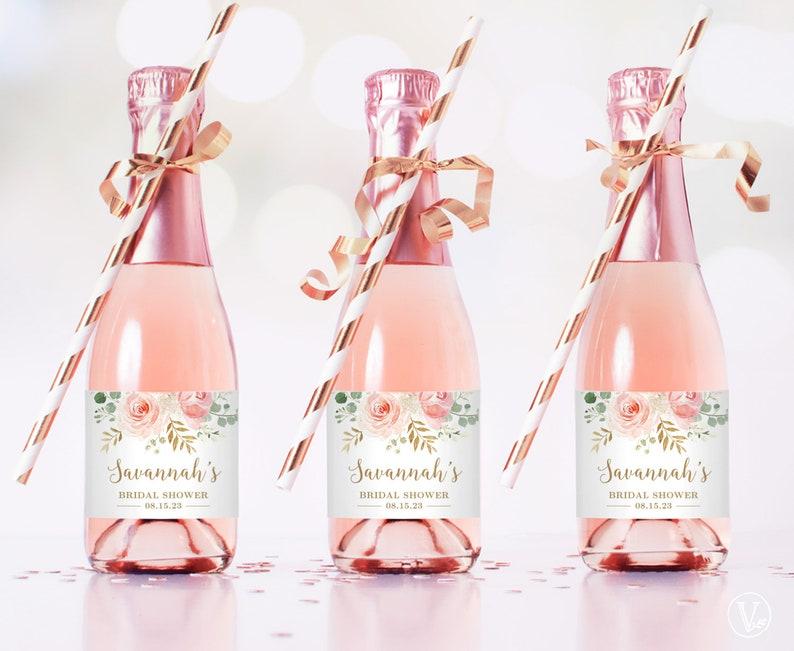 Mini Bridal Shower Champagne Bottle Labels Printable and image 0