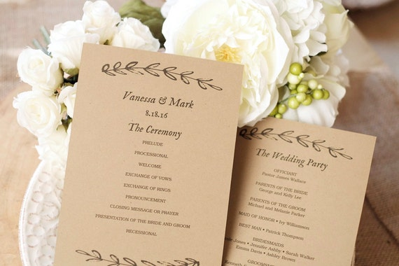 Wedding Program Template Kraft Paper