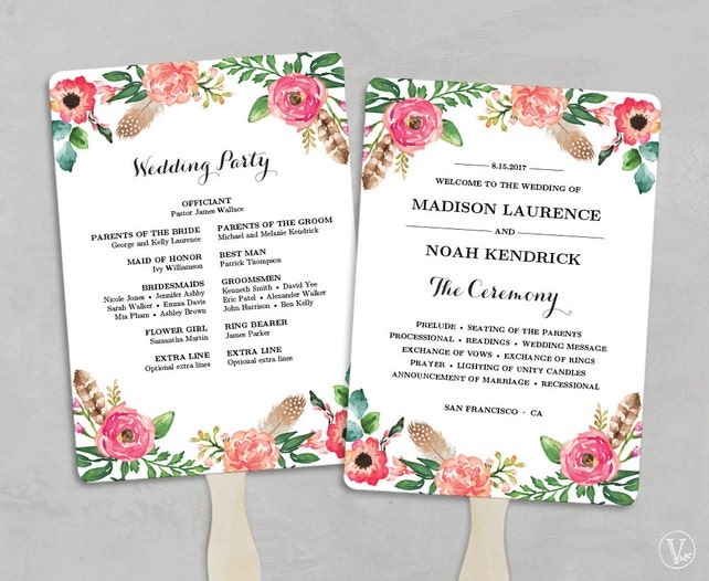 Printable Wedding Program Fan Template Programs Fans DIY Editable Text 5x7