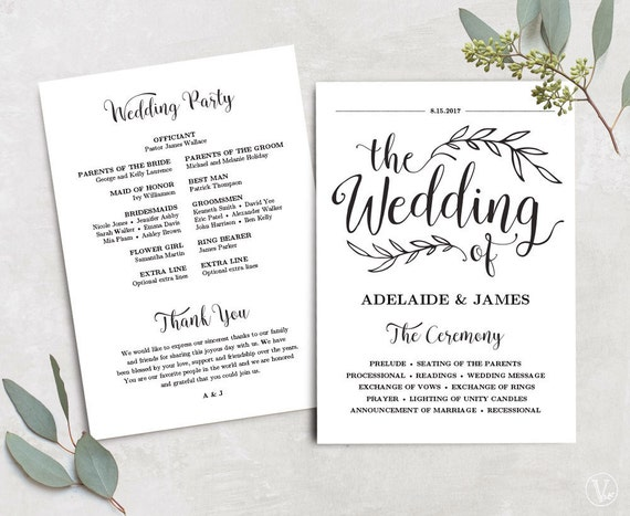 Printable Wedding Program Wedding Program Template Kraft Etsy
