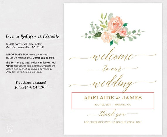 Printable Gold Wedding Welcome Sign, Peach Blush Floral Wedding Sign