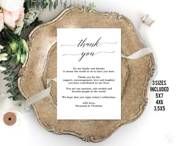 Editable Thank You Note Card Printable Wedding Thank You Card Etsy