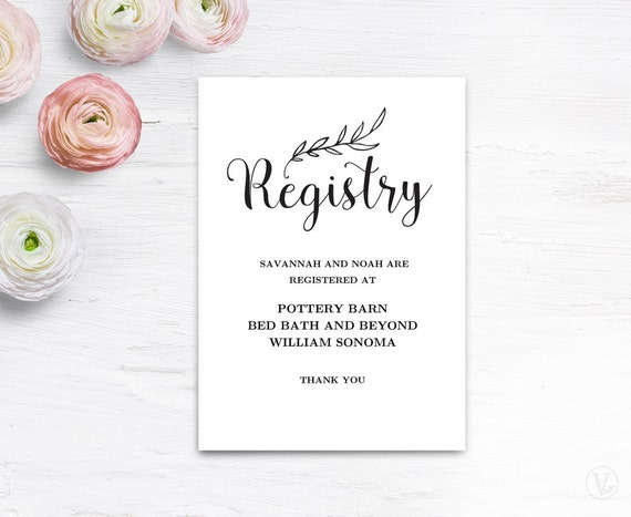 Wedding Registry Free Gifts: Gift Registery Card Template Printable Wedding Registry