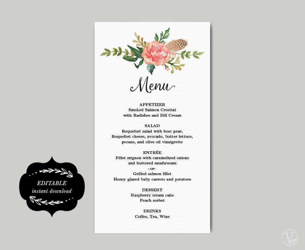Printable Wedding Menu Template DIY Wedding Menu Simple and | Etsy