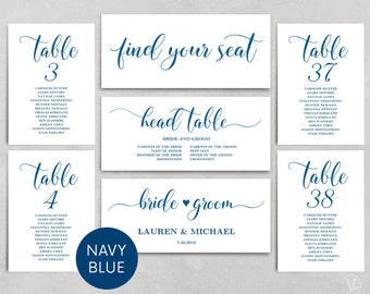 Navy Blue Wedding Seating Chart template, Header Signs and Table Signs 1-40, Printable Wedding Table chart, INSTANT DOWNLOAD, SC008