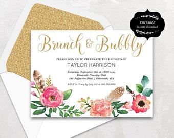 Floral Bridal Shower Template, Printable Bridal shower Invitation, Boho Bridal Shower Card, Instant DOWNLOAD - EDITABLE Text, BS001, VW14