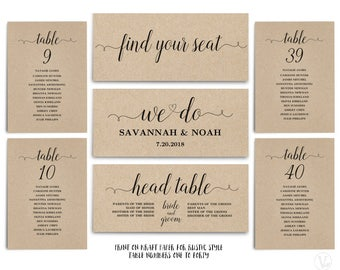 Rustic Wedding Seating Chart template, Header Signs and Table Signs 1-40, Printable Wedding Table chart, INSTANT DOWNLOAD, We Do, VW02