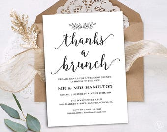 Printable Wedding Brunch Invitation Card Template, Simple and Modern, INSTANT DOWNLOAD, Editable Text, Modern Calligraphy, VW10