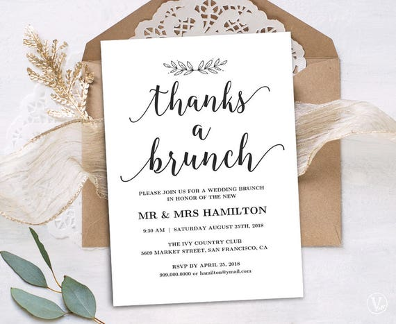 Printable Wedding Brunch Invitation Card Template Simple And Modern Instant Download Editable Text Modern Calligraphy Vw10