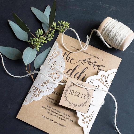 Vintage Wedding Invitation Suite Printable Wedding Invitation Etsy
