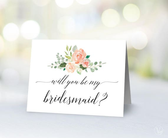 Will you Be My Bridesmaid Card Template Printable Floral | Etsy