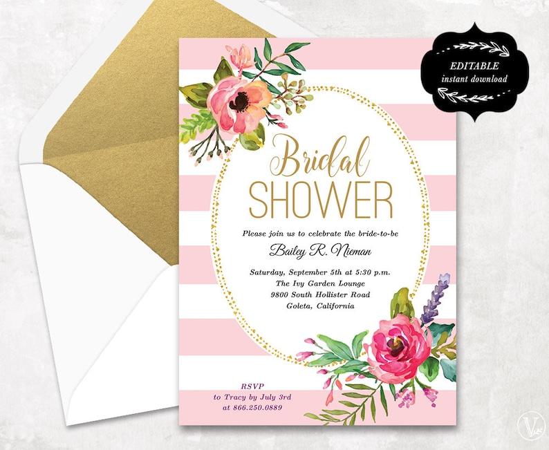 2061c8d83f23 Blush Pink Floral Bridal Shower Invitation Template Printable