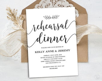 Rehearsal Dinner Invitation, Rehearsal Dinner Card Template, INSTANT DOWNLOAD, Editable Text, 5x7, Modern Calligraphy, VW10