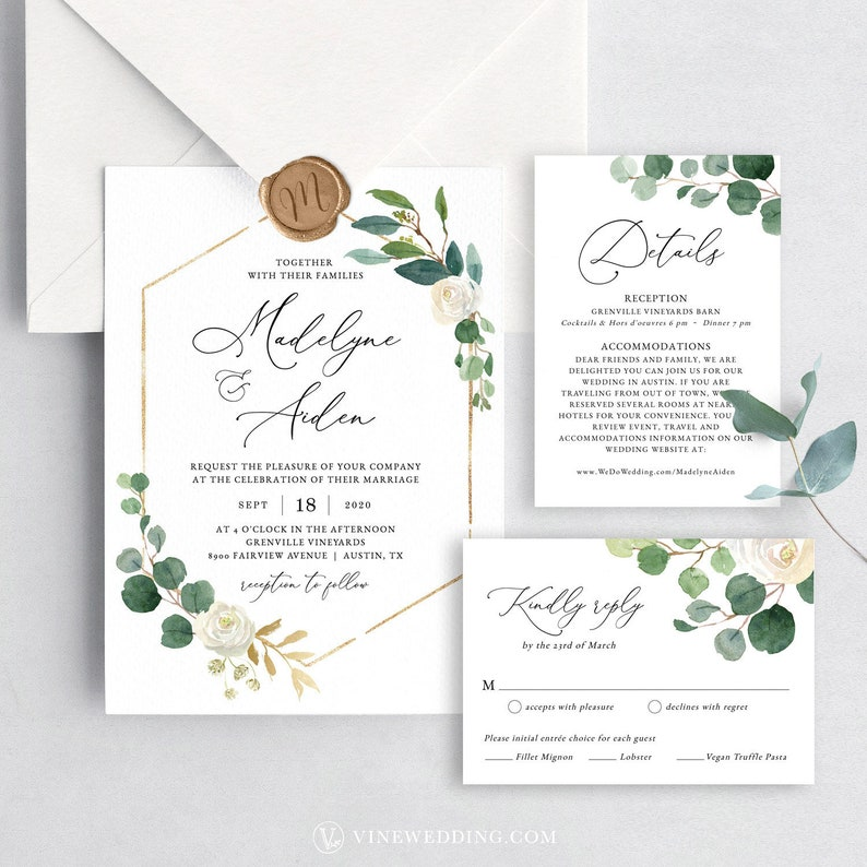 Wedding Invitation Set Printable Template With 100 Editable Text Calligraphy RSVP Elegant Modern Greenery VWT10