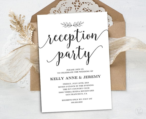 wedding reception invitation printable reception party card etsy