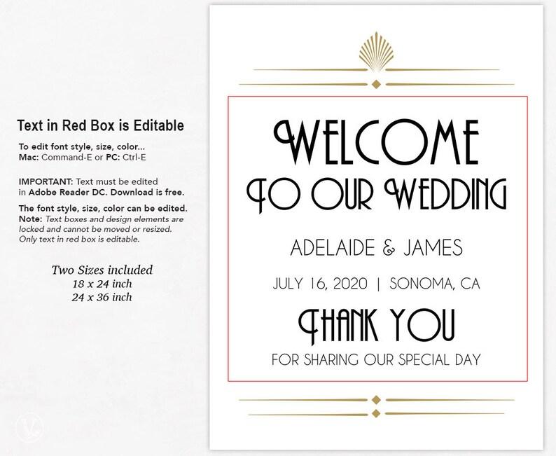 Gatsby Art Deco Wedding Welcome Sign, Printable Custom Wedding Sign  Template, Editable Text, 18x24 and 24x36 inch, Art Deco Shell, VW46