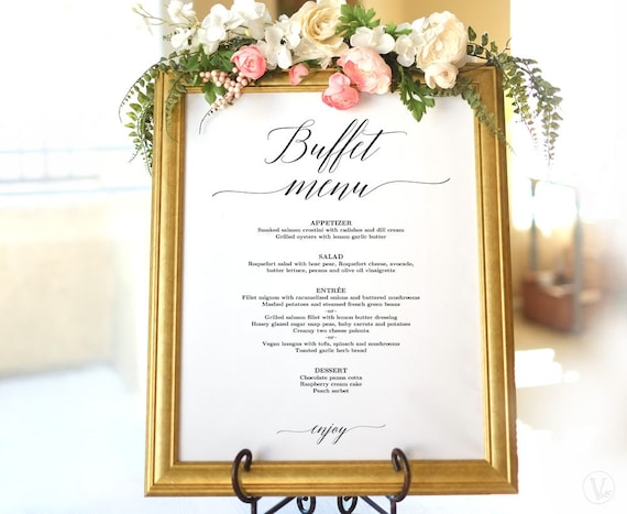 wedding buffet menu sign printable wedding menu template etsy