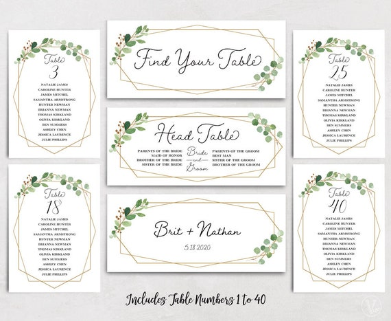 Geometric Wedding Seating Chart Template Header Signs and ...