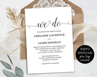 Wedding Invitation Template, Rustic Wedding Invitations, Kraft Wedding Invites, INSTANT DOWNLOAD, Editable Text, We Do, VW02