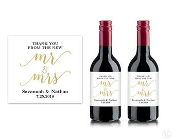 Mini Wine Bottle Labels, Printable Wine Bottle Label Template, Personalized and Editable, Mr & Mrs, VW10, VW36