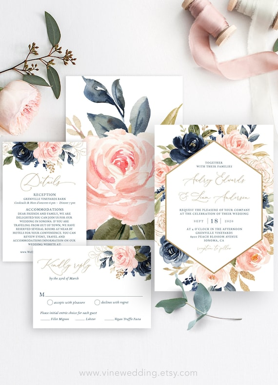 Navy And Pink Floral Wedding Invitation Set Printable Wedding Invitation Card Templatet Navy Blue Pink Blush Gold Vwt13