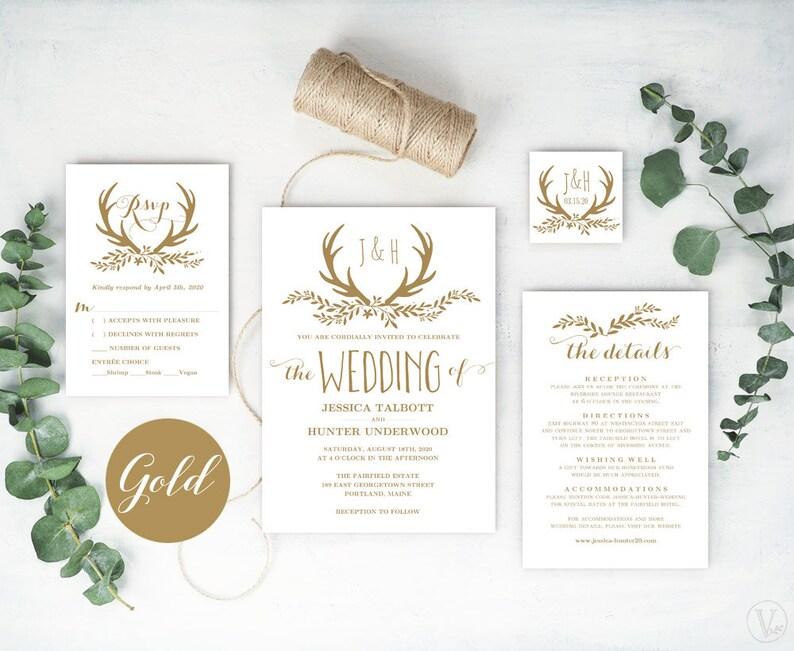 Gold Antler Wedding Invitation Printable Wedding Invitation Template Rustic Glam Wedding Invitation Cards Gold Floral Antler Vw47