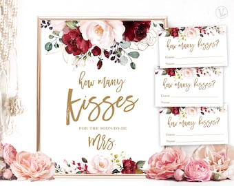 Bridal Shower Game, How Many Kisses For The Soon To Be Mrs, Printable Game Sign and Answer Cards, Floral, Burgundy, Pink, Gold, VWC83