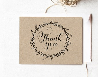 Classic Wreath Printable Thank You Card, Wedding Thank You Card, Rustic Kraft Thank You Card - Instant DOWNLOAD - 4.25x5.5 inches, TY01 VW06