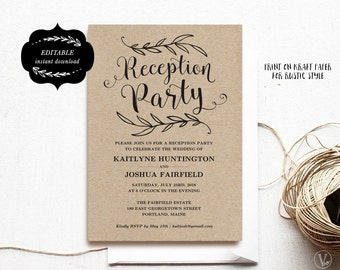 Wedding Reception Party Invitation Template, Kraft Reception Card, Instant DOWNLOAD - EDITABLE Text - 5x7, RP001, VW01