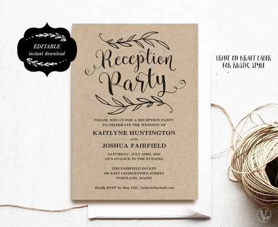 Wedding Reception Party Invitation Template Kraft Reception Card Instant Download Editable Text 5x7 Rp001 Vw01