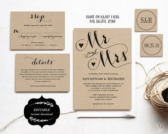 Wedding Invitation Card Template, Printable Wedding Invitation, Kraft Wedding Invitation, DIY Wedding, Editable Text, Mr Mrs, VW04
