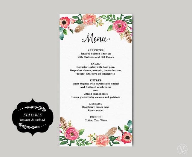 Printable Wedding Menu Template DIY Simple And Elegant Floral Peony Editable Text