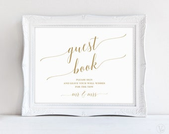 Gold Guest Book Sign, Printable Wedding Guest Book Sign, Wedding Reception Sign, Reception Decor