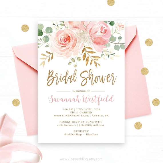 Bridal Shower Invitation Template Editable Printable Bridal Shower Invitation Card Blush Pink Floral Gold Vwc95