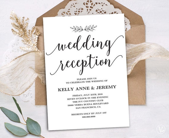 Invitation Wording For Wedding Reception: Wedding Reception Invitation Printable Reception Party