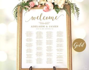 Gold Wedding Seating Chart Template, Wedding Seating Chart Poster, Elegant Gold Seating Chart, Editable, Modern Calligraphy, VWC88