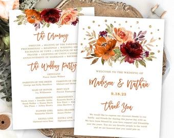Fall Wedding Programs, Printable Wedding Program Template, Editable Text, 5x7, Burnt Orange, Burgundy, Floral, Autumn, Sienna, Boho, VWC74
