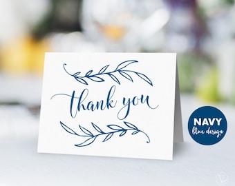 Navy Thank You Card, Vintage Wedding Printable Thank You Card, Wedding Thank You Card - Instant DOWNLOAD - 4.25x5.5 inches, VW00