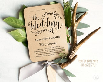 Printable Wedding Program Template, Rustic Wedding Fan Program, Wedding Fans, Editable text, 5x7, VW01