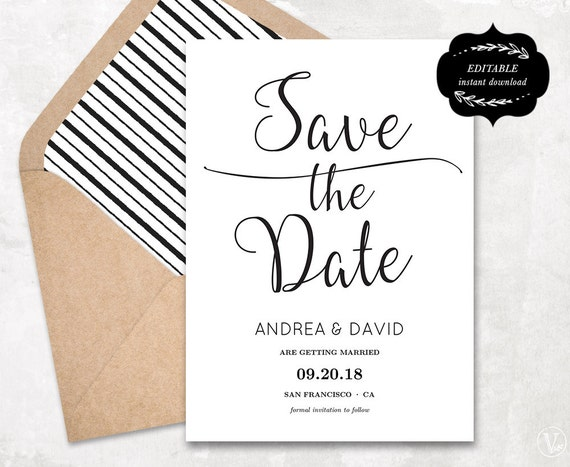 Modern Save The Date Card Template Printable Save The Date Etsy
