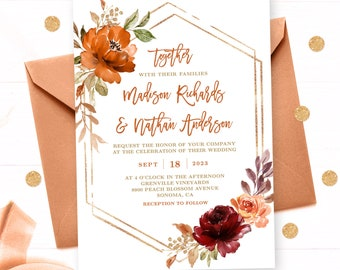 Fall Wedding Invitation Set with RSVP & Details Card, Printable Invitation Template, Burnt Orange, Sienna, Burgundy, Autumn Floral, VWC74