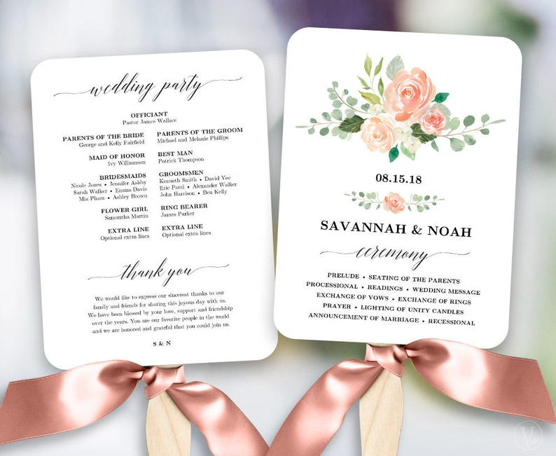 Peach Blush Floral Wedding Program Fan Template Printable Fan | Etsy