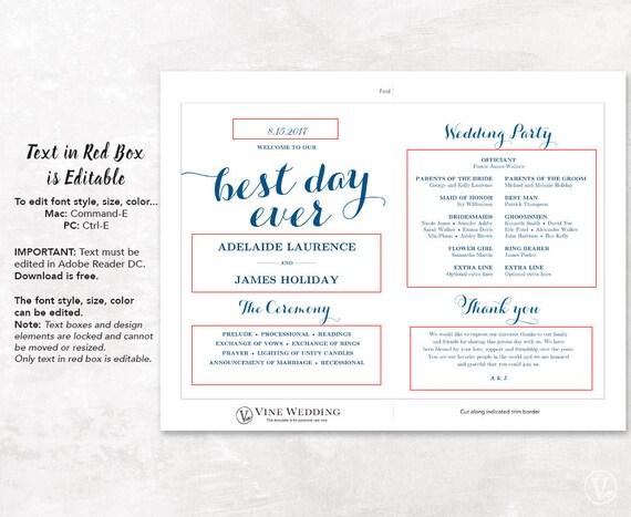 printable wedding program template fan wedding program diy etsy
