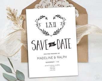 Save the Date Template, Printable Save the Date Card, INSTANT DOWNLOAD, Editable Text - 5x7, Wreath Heart, VW08