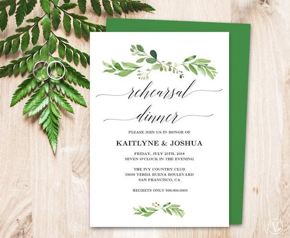 Wedding Rehearsal Dinner Invitation Card Template Printable Greenery Rehearsal Dinner Card Editable Garden Greenery Vw30