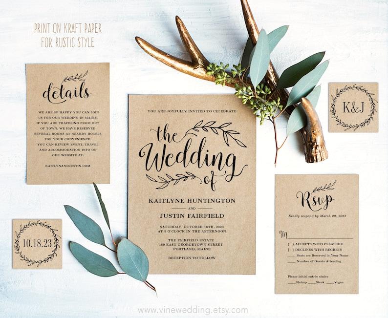 Vintage Wedding Invitation Set Printable Wedding Invitation image 0