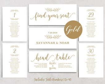 Gold Wedding Seating Chart Template, Printable Seating Chart, Header Signs and Table Signs 1-40, Modern Calligraphy, VW36