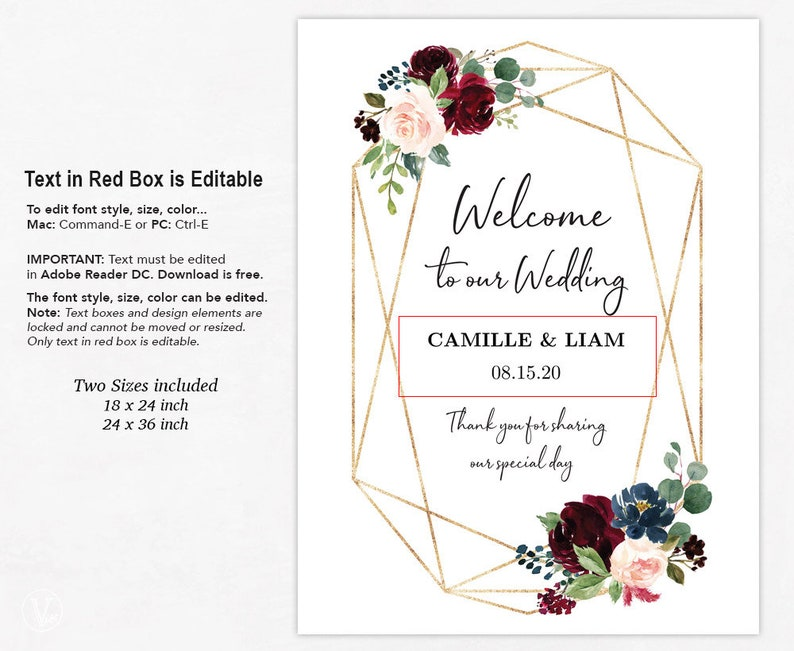 Geometric Burgundy Pink Floral Wedding Sign Template, Printable Wedding  Welcome Sign, Large Personalized Wedding Welcome Sign, Marsala, VW33