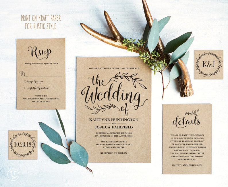 Vintage Wedding Invitation Set Printable Template Download Rustic Kraft DIY VW01